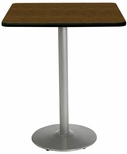 42'' Square Laminate Bistro Height Pedestal Table with Walnut Top - Silver Round Base [T42SQ-B1922-SL-WL-38-IFK]
