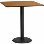 42'' Square Natural Laminate Table Top with 24'' Round Bar Height Base [BFDH-4242NATSQ-7BAR-TDR]