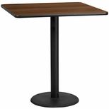 42'' Square Walnut Laminate Table Top with 24'' Round Bar Height Base [BFDH-4242WALSQ-7BAR-TDR]