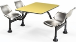 64.25'' D Cluster Table - Stainless Steel Seat and Yellow Laminate Top [1002-SS-YLW-MFO]