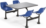 64.25'' D Outdoor Table with Stainless Steel Top and Four Chairs - Navy [1004-NAVY-MFO]
