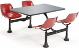64.25'' D Outdoor Table with Stainless Steel Top and Four Chairs - Red [1004-RED-MFO]