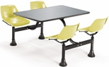 64.25'' D Outdoor Table with Stainless Steel Top and Four Chairs - Yellow [1004-YLW-MFO]