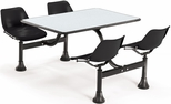 71'' D Cluster Table - Black Seat and Gray Nebula Laminate Top [1003-BLK-GRYNB-MFO]