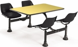 71'' D Cluster Table - Black Seat and Yellow Laminate Top [1003-BLK-YLW-MFO]