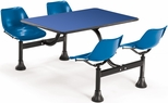 71'' D Cluster Table - Blue Seat and Blue Laminate Top [1003-BLUE-BLUE-MFO]