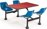 71'' D Cluster Table - Blue Seat and Red Laminate Top [1003-BLUE-RED-MFO]