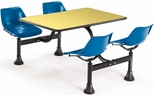 71'' D Cluster Table - Blue Seat and Yellow Laminate Top [1003-BLUE-YLW-MFO]
