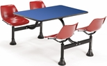 71'' D Cluster Table - Red Seat and Blue Laminate Top [1003-RED-BLUE-MFO]
