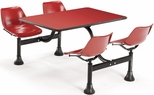 71'' D Cluster Table - Red Seat and Red Laminate Top [1003-RED-RED-MFO]