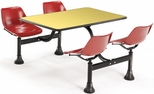 71'' D Cluster Table - Red Seat and Yellow Laminate Top [1003-RED-YLW-MFO]