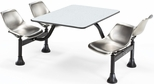 71'' D Cluster Table - Stainless Steel Seat and Gray Nebula Laminate Top [1003-SS-GRYNB-MFO]