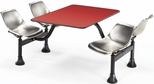 71'' D Cluster Table - Stainless Steel Seat and Red Laminate Top [1003-SS-RED-MFO]