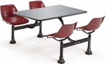 71'' D Outdoor Table with Stainless Steel Top and Four Chairs - Maroon [1005-MRN-MFO]
