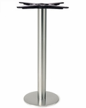 Brushed Stainless Steel 8'' x 28.375''H Outdoor Bolt Down Round Table Base [4008-28-SS-PMI]