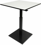 Alera® Hospitality Series Square Laminate Height Adjustable Table with Weighted Black Square Base - Gray [ALEHSA32B-FS-NAT]