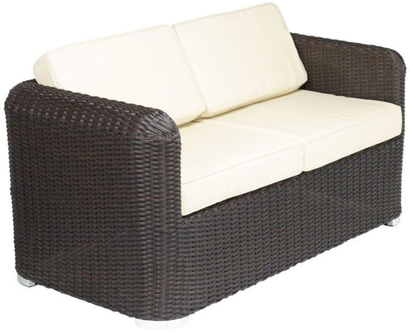 Apollo Beach Collection Outdoor Wicker Love Seat with Arms