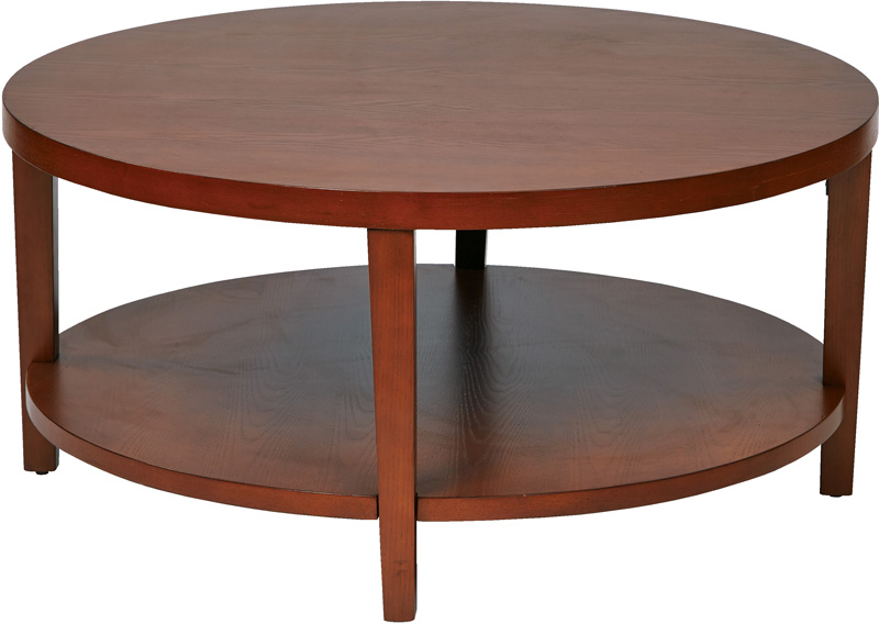 Ave Six Merge 36 Round Coffee Table With Solid Wood Legs - Round Cherry Coffee Table - Starrkingschool