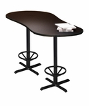 Bistro 72'' Peanut Bar Height Table with Black Cast Iron Base - Anthracite [CA2PHTANT-FS-MAY]