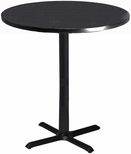 Bistro 36'' Round Bar Height Table with Black Cast Iron Base - Anthracite with Black T-Mold [CA36RHBTANT-FS-MAY]