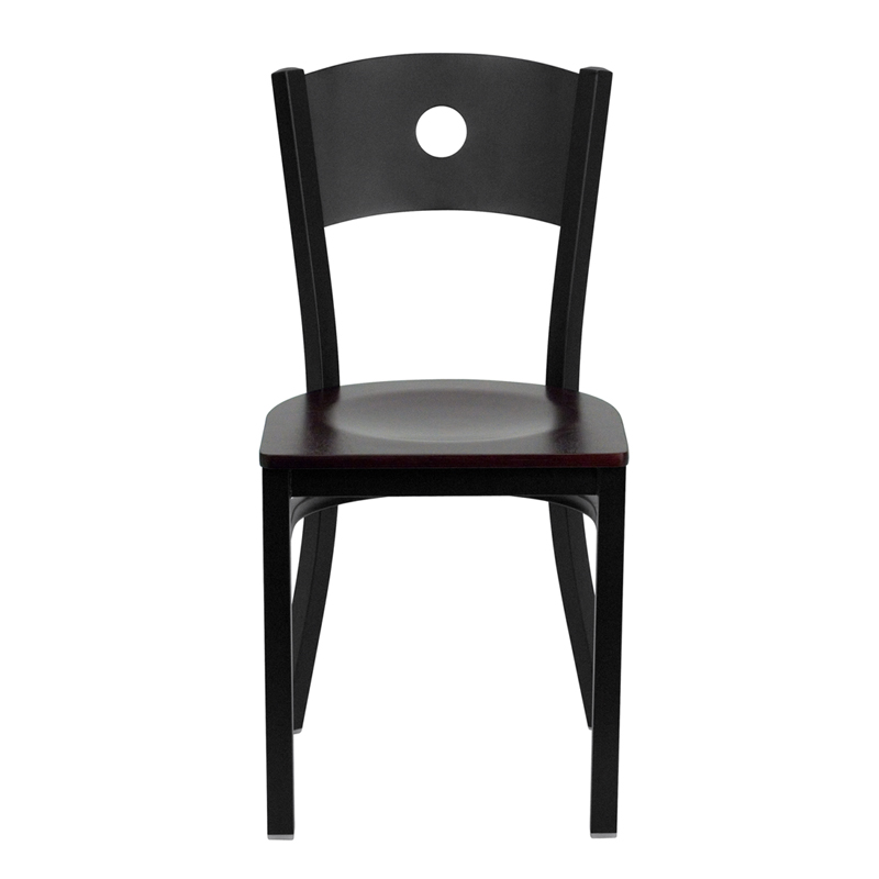 Black Circle Back Metal Restaurant Chair with Mahogany