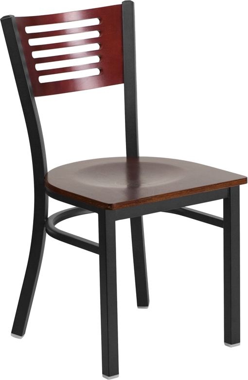 Black Decorative Slat Back Metal Restaurant Chair with