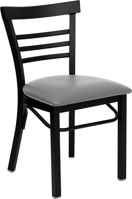 Black Ladder Back Metal Restaurant Chair with Custom