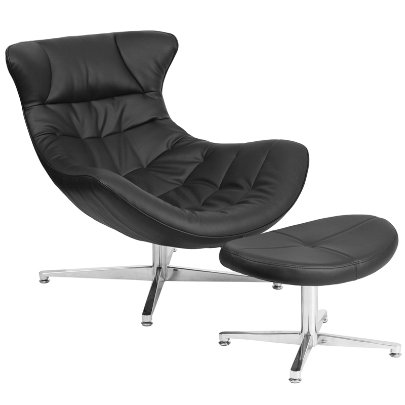 black leather cocoon chair with ottoman zb 40 cocoon gg restaurant