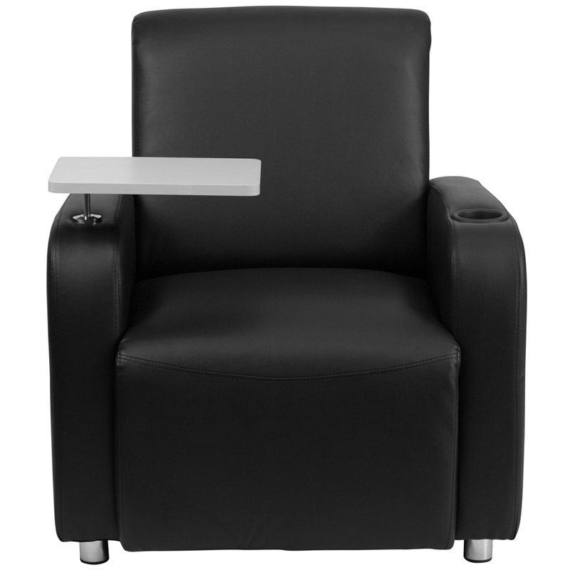 Black Leather Guest Chair with Tablet Arm Chrome Legs and Cup Holder BT 8217