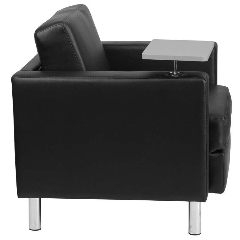 Black Leather Guest Chair with Tablet Arm Tall Chrome Legs and Cup Holder BT
