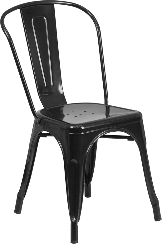 Black Metal Indoor Outdoor Stackable Chair CH BK GG