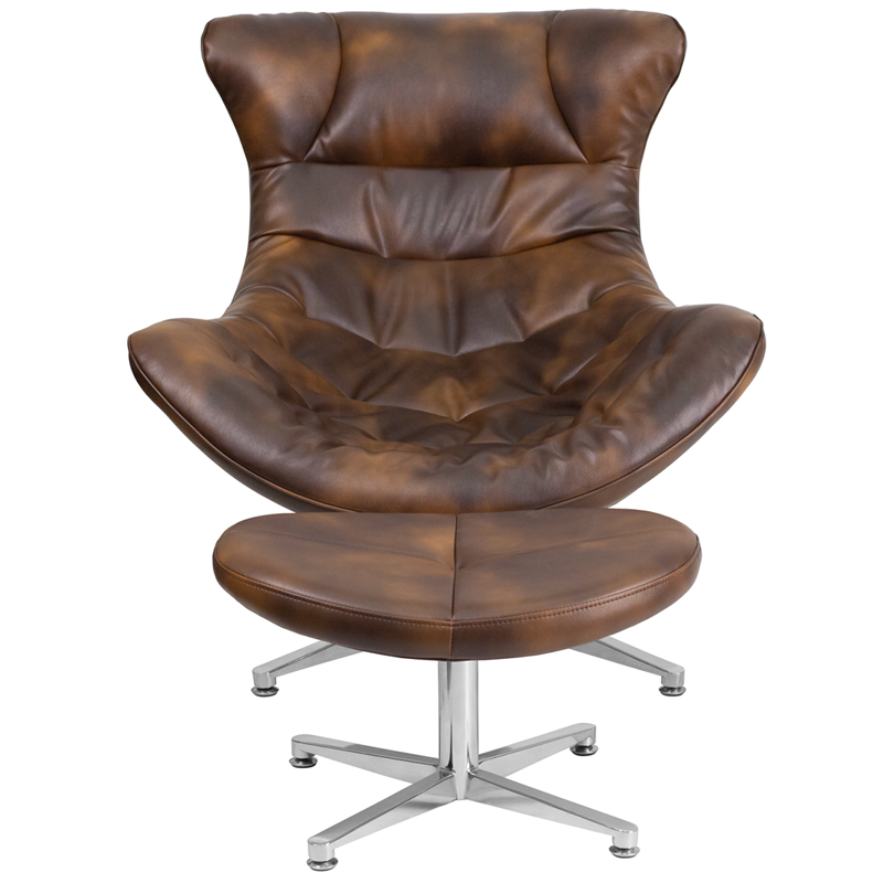 Bomber Jacket Leather Cocoon Chair with Ottoman, ZB-43-COCOON-GG