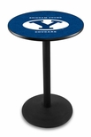 Brigham Young University 36''H Black Wrinkle Finish Counter Height Pub Table with Round Base [L214B36BRIGYN-FS-HOB]