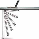 Chrome Push-Button Single Foldable Table Leg with Mounting Hardware - 27.75''H [656-7S-C1-PMI]