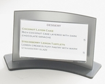 Clear and Silver Acrylic Curved Forma 3.5'' x 2'' Card Holder [830-CLM]