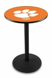 Clemson University 36''H Black Wrinkle Finish Counter Height Pub Table with Round Base [L214B36CLMSON-FS-HOB]