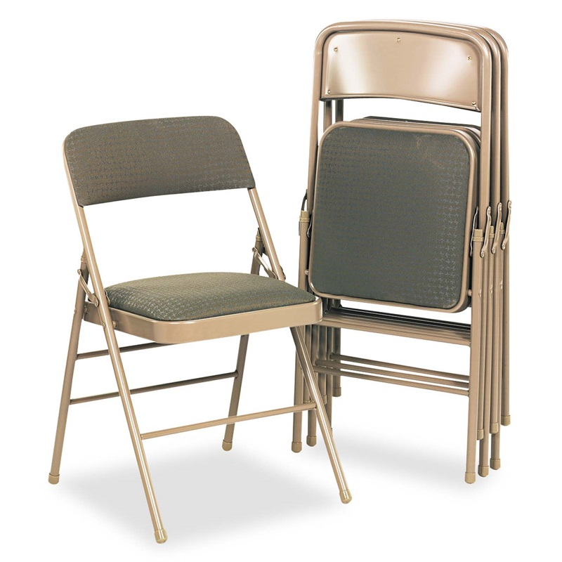 Cosco Deluxe Fabric Padded Seat & Back Folding Chairs Cavallaro Taupe