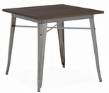Dreux 30''H Clear Gunmetal Steel Dining Table with Elm Wood Top [LS-9120-GUNW-DLM]