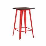 Dreux 42''H Glossy Red Steel Bar Table with Elm Wood Top [LS-9110-REDW-DLM]