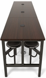 Endure 141''W Steel Frame Table with 12 Swivel Seats - Walnut Table Top and Dark Vein Seats [9012-DVN-WLT-MFO]