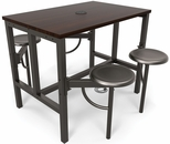 Endure 48''W Steel Frame Table with 4 Swivel Seats - Walnut Table Top and Dark Vein Seats [9004-DVN-WLT-MFO]