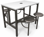 Endure 48''W Steel Frame Table with 4 Swivel Seats - Dry Erase White Table Top and Dark Vein Seats [9004-DVN-WHT-MFO]
