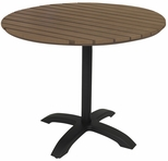 Eveleen Aluminum Outdoor Pedestal Base with 32'' Round Polymer Table Top - Mocha [TSY32R1900MA-IFK]