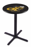 Georgia Institute of Technology 36''H Black Wrinkle Finish Counter Height Pub Table with X-Base [L211B36GATECH-FS-HOB]