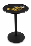Georgia Institute of Technology 36''H Black Wrinkle Finish Counter Height Pub Table with Round Base [L214B36GATECH-FS-HOB]