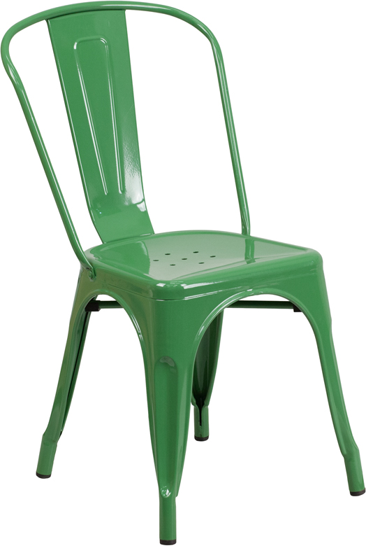 Green Metal Indoor Outdoor Stackable Chair CH 31230 GN GG RestaurantFurnit