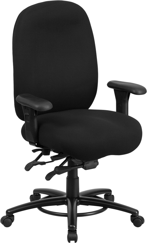 big tall 350 lb capacity black fabric multi functional swivel chair