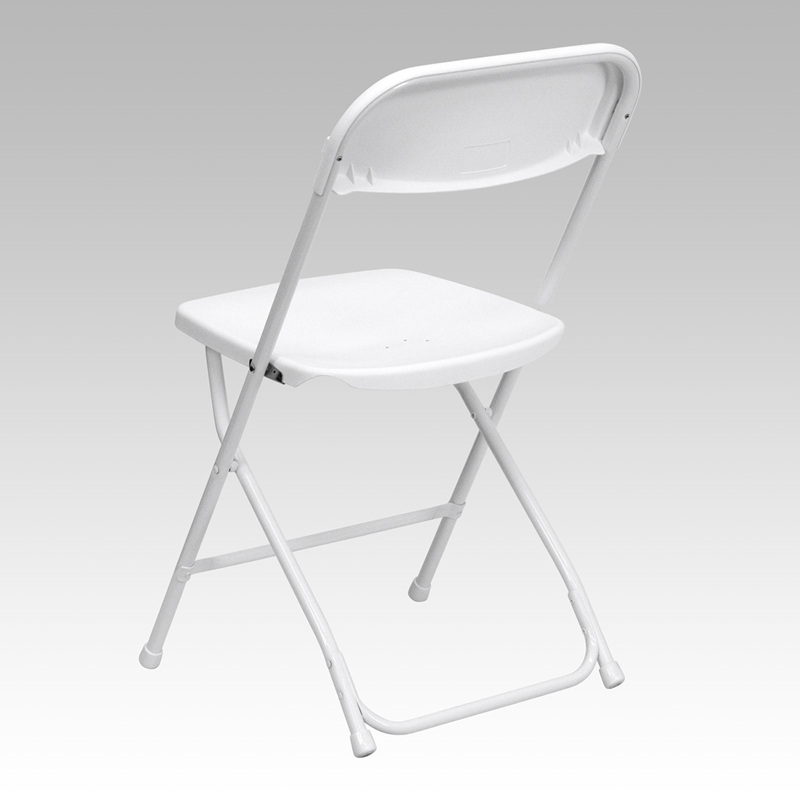 HERCULES Series 800 lb Capacity Premium White Plastic Folding Chair LE L 3
