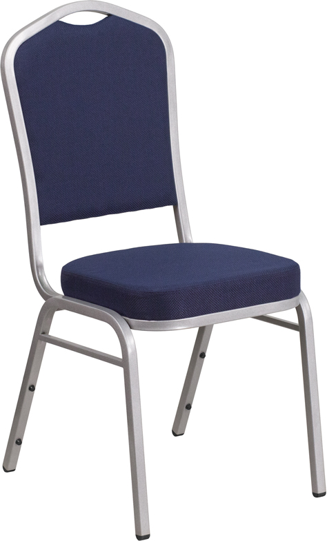 HERCULES Series Crown Back Stacking Banquet Chair in Navy