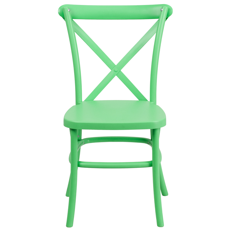 hercules series green resin indoor outdoor cross back chair with steel